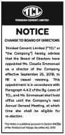 Notice – Change to Board of Directors